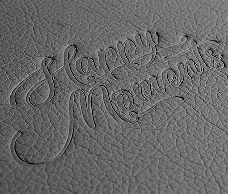 default stamping text on leatherette photo book