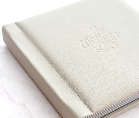 wedding book in white leatherette with debossing