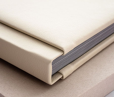 Layflat leatherette book with rounded corners